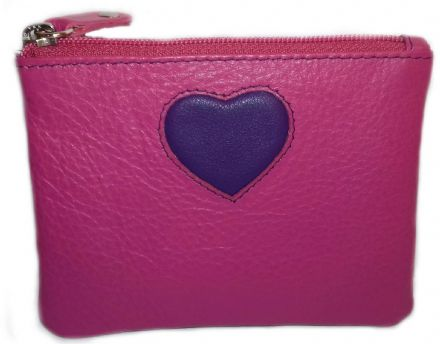Leather Pinky Small Heart Pink Coin Purse